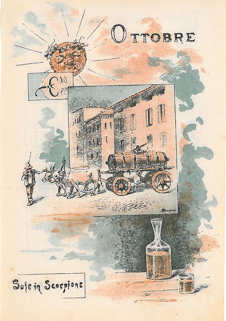 """""""Ottobre"""", realizzato da Majani per la strenna del periodico """"Ehi! ch'al scusa"""" 1887. Essendo il mese dedicato al vino, è riprodotta la tradizionale castellata bolognese tirata dai buoi."""