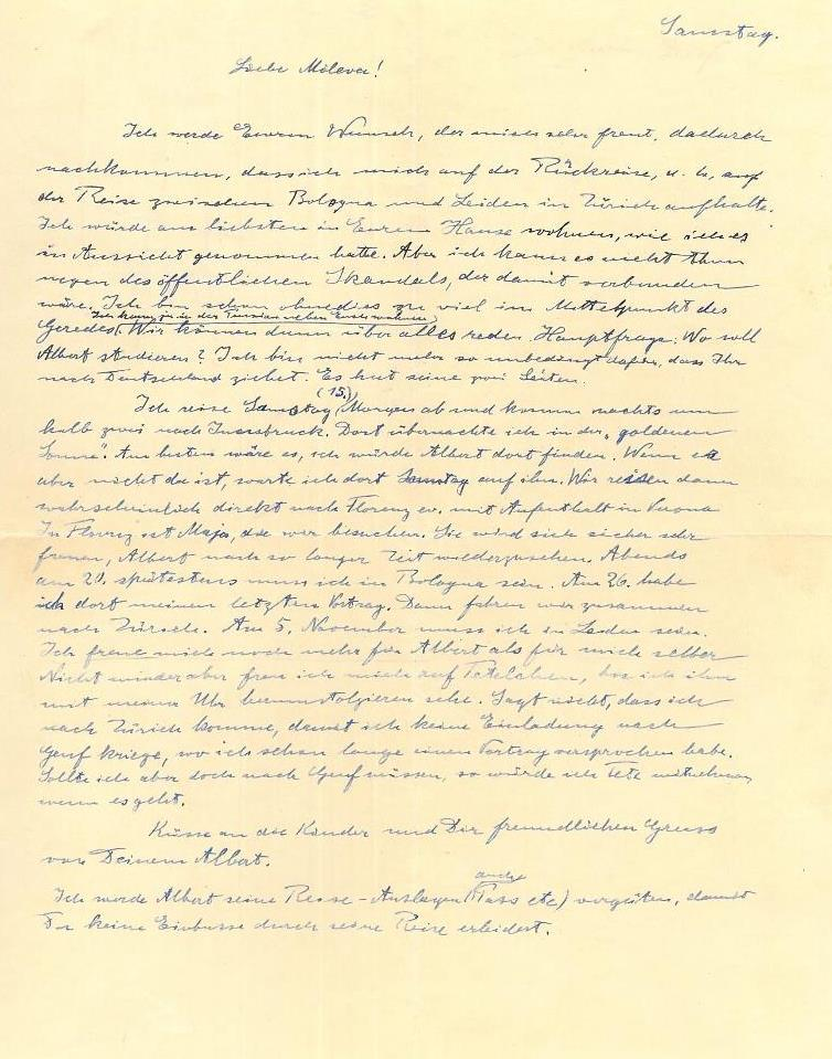 Lettera di Albert Einstein durante il soggiorno italiano