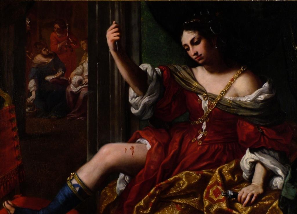 Porzia che si ferisce alla coscia di Elisabetta Sirani, 1664, Olio su tela
