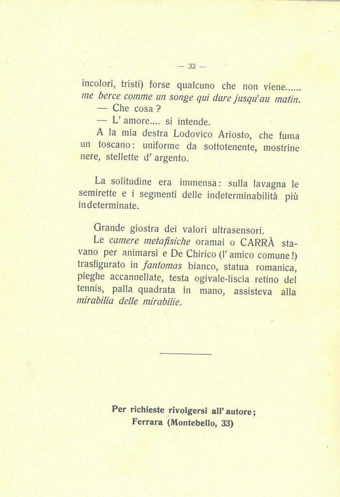 ultima pagina racconto De Pisis